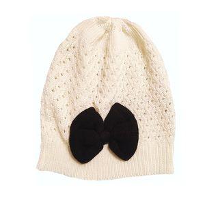 Beige Knit Beanie With Black Bow🎀